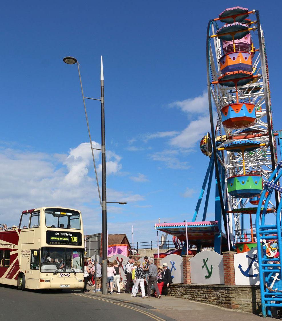 Scarborough tour bus and fairground ride
