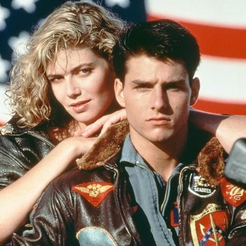 Kelly McGillis Tom Cruise Top Gun American flag leather jacket