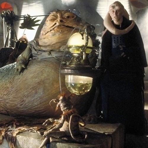 Jabba the Hutt, Salacious Crumb, Bib Fortuna on Jabba's barge