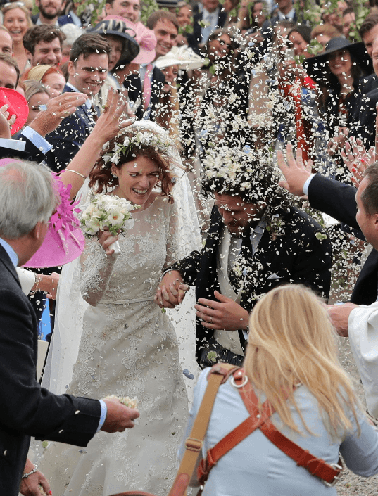 Rose Leslie and Kit Harington confetti on their wedding day