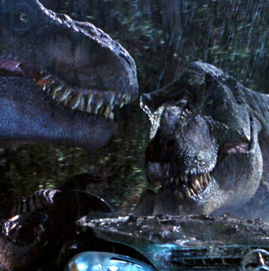 two t rexs ready to do some damage in the lost world 25 Things You Probably Missed In Jurassic Park