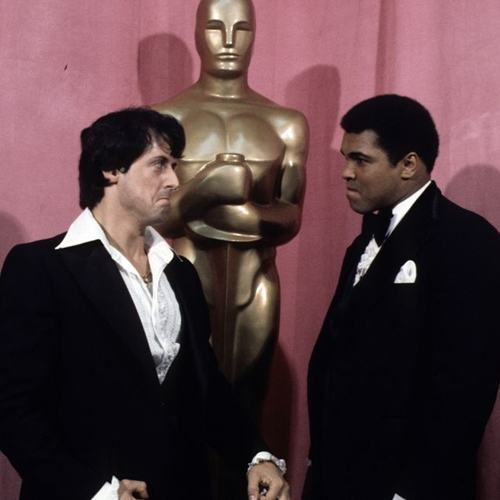 Sylvester Stallone and Muhammad Ali at the Oscars to win an award