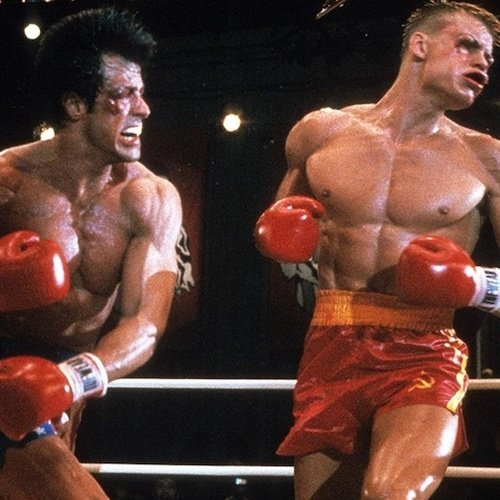 Sylvester Stallone and Dolph Lundgren boxing in Rocky IV