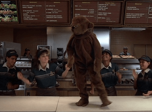 Mac dressed up as a teddy bear standing on a counter