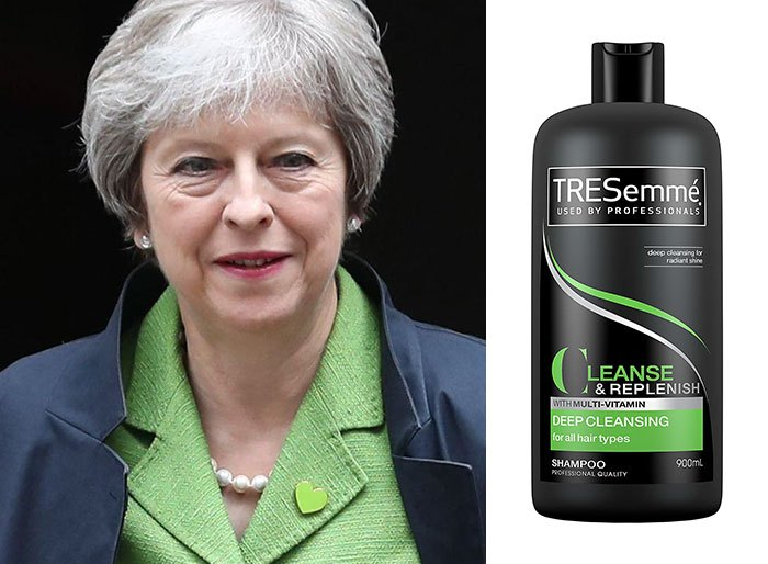shampoo bottles tresemme clothes theresa may 3 5cf4efe24c29d 700 Here Are 9 Pictures Of Theresa May Dressed Like Bottles Of Tresemmé