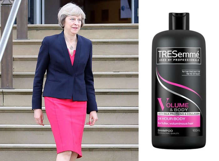 shampoo bottles tresemme clothes theresa may 7 5cf4efe8e7c41 700 Here Are 9 Pictures Of Theresa May Dressed Like Bottles Of Tresemmé