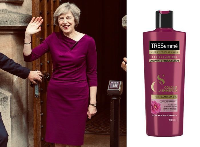 shampoo bottles tresemme clothes theresa may 8 5cf4efeaa307a 700 Here Are 9 Pictures Of Theresa May Dressed Like Bottles Of Tresemmé
