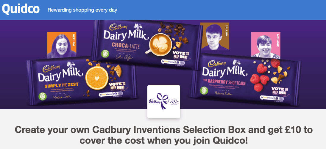 unnamed Join Quidco And Get A FREE Cadbury Inventions Selection Box Worth £10