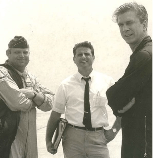 Leslie Nielsen with members of the Canadian Air Force