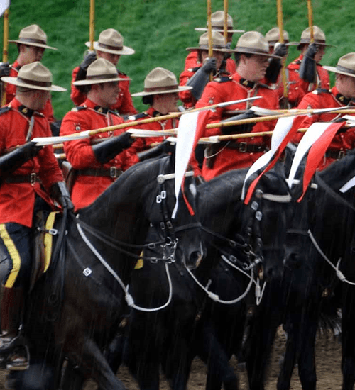 Canadian Mounties on horses