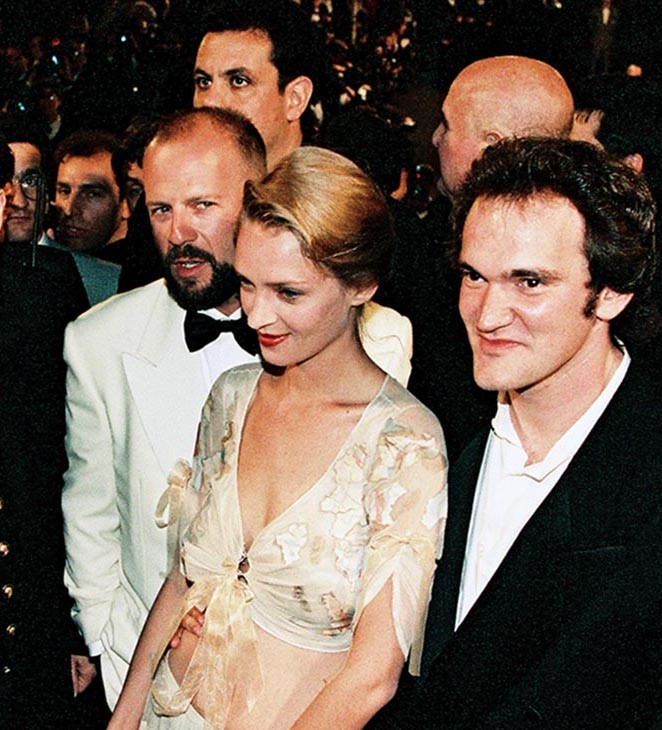 one time use only quentin tarantino uma thurman bruce willis john travolta and his wife kelly preston at cannes on may 21 1994 newscom h 2019 25 Things You Never Knew About Pulp Fiction