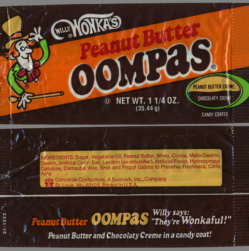 CC Sunmark Concorde Willy Wonkas Peanut Butter Oompas cand package early 1970s Dan Goodsell 28 Things You Probably Never Knew About Willy Wonka And The Chocolate Factory