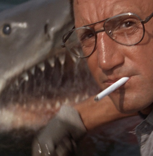 bruce the shark and roy scheider in jaws 20 Classic Movie Moments That Were Completely Improvised