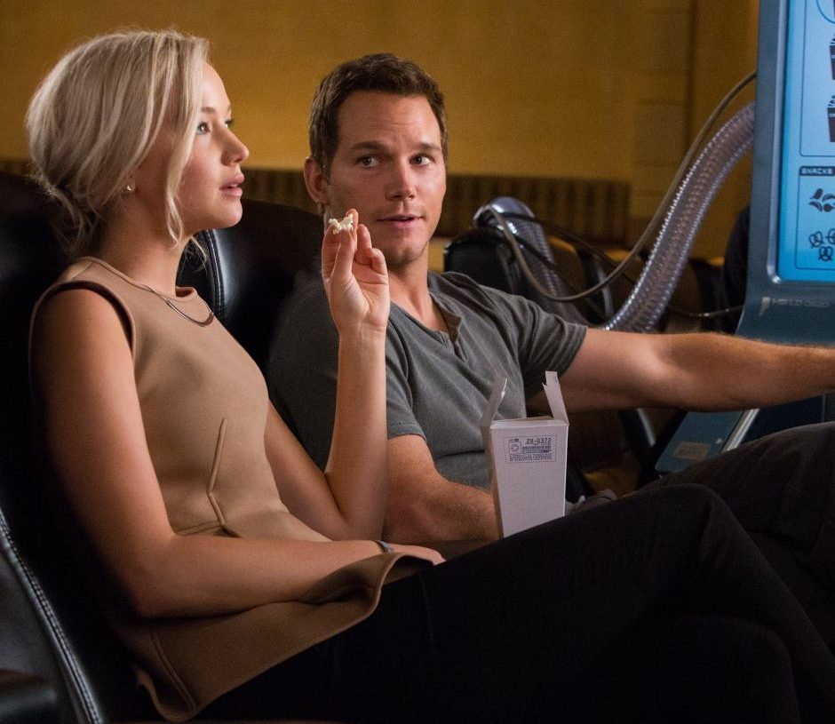 Chris Pratt and Jennifer Lawrence in Passengers 2016 e1597747204769 20 Great Movie Romances That Are Actually Deeply Problematic