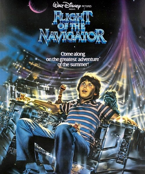 This photo shows Cramer as David Freeman on the poster for Flight of the Navigator
