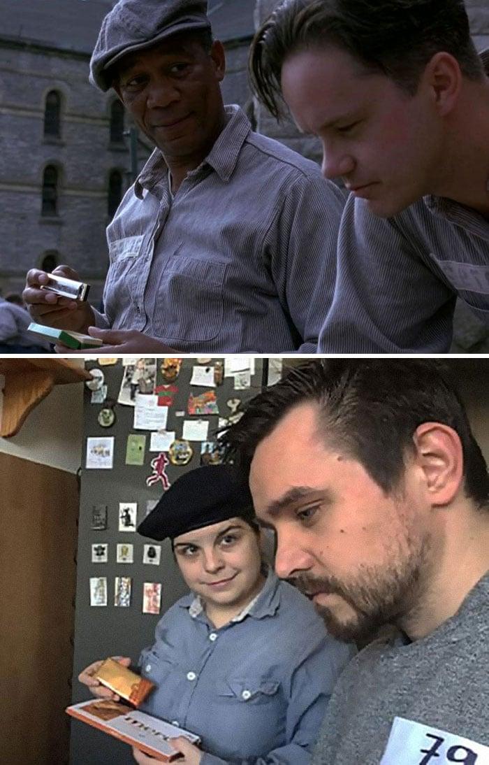 couple recreates famous movie scenes 44 5e95893bd55a3 700 1 An Isolating Couple Is Recreating Classic Movie Moments While In Quarantine