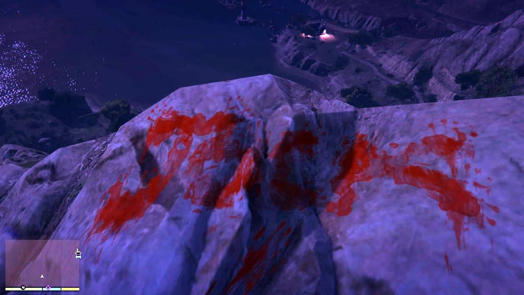 Ghost of Mt. Gordo Jock Writing GTA V Easter Eggs 20 Creepiest Video Game Easter Eggs