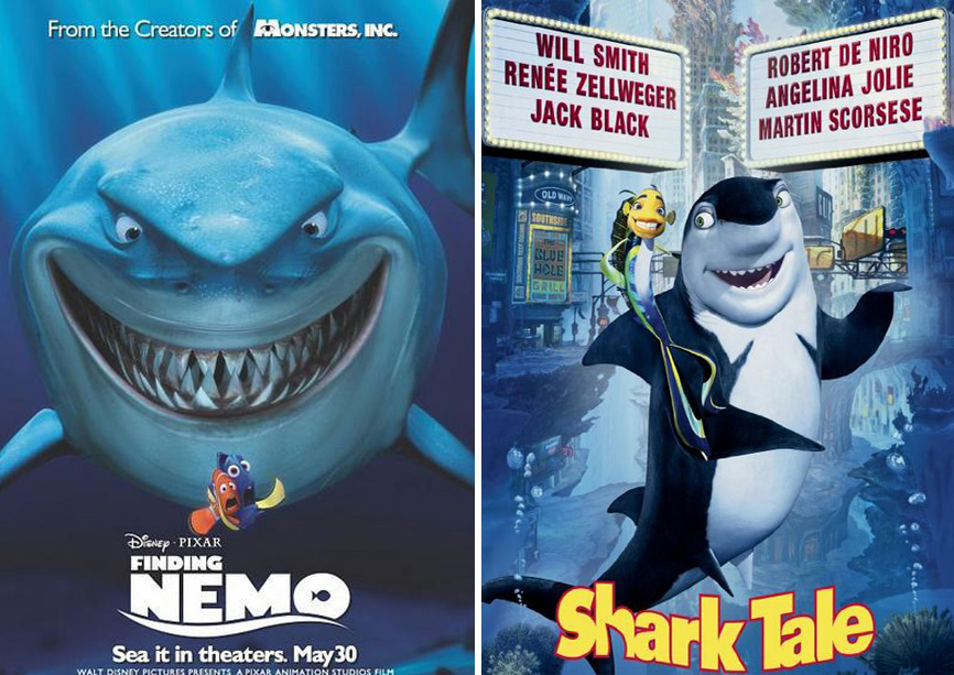 finding nemo shark tale copy 20 Famous Films That Had Almost Identical 'Twins'