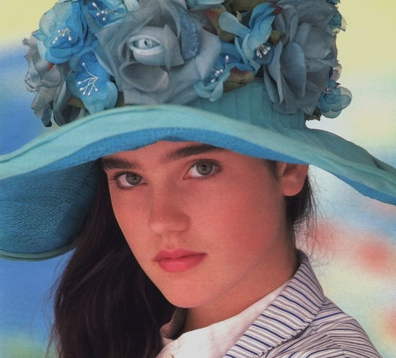 young jennifer connelly in striped dress and blue hat photo u1 e1609949814513 20 Things You Probably Didn't Know About Jennifer Connelly